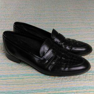 Florsheim 10 E Black Woven Leather Loafer